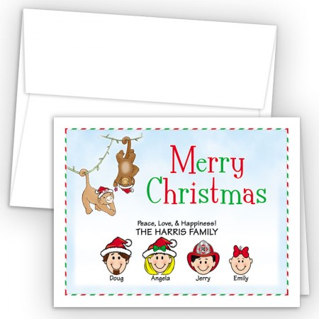 Christmas Monkeys Merry Christmas Holiday Fold Note Head