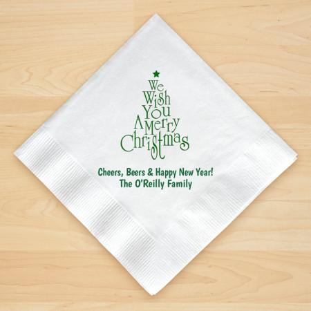Christmas Tree Design 1 Personalized Christmas Beverage Napkins