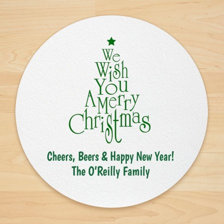 Christmas Tree Design 1 Personalized Christmas Coasters