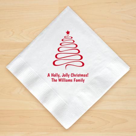 Christmas Tree Design 10 Personalized Christmas Beverage Napkins