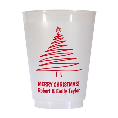 Christmas Tree Design 2 16 oz Personalized Christmas Party Cups