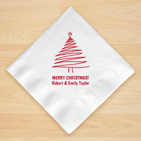 Christmas Tree Design 2 Personalized Christmas Beverage Napkins