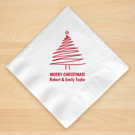 Christmas Tree Design 2 Personalized Christmas Beverage Napkins
