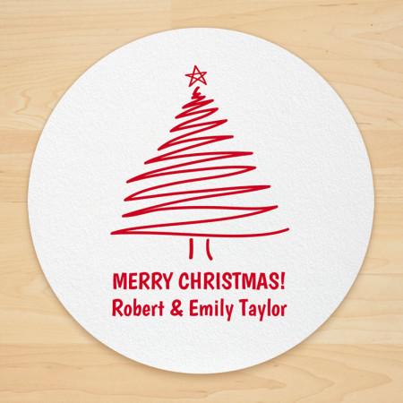 Christmas Tree Design 2 Personalized Christmas Coasters