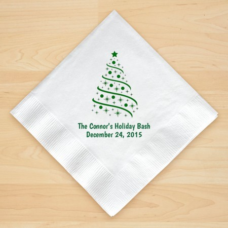 Christmas Tree Design 4 Personalized Christmas Beverage Napkins