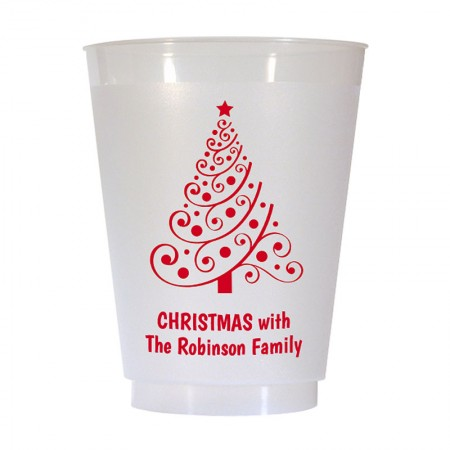 Christmas Tree Design 5 16 oz Personalized Christmas Party Cups