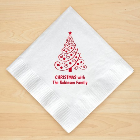 Christmas Tree Design 5 Personalized Christmas Beverage Napkins