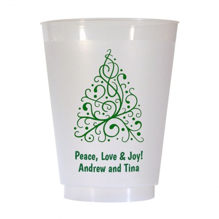 Christmas Tree Design 7 16 oz Personalized Christmas Party Cups