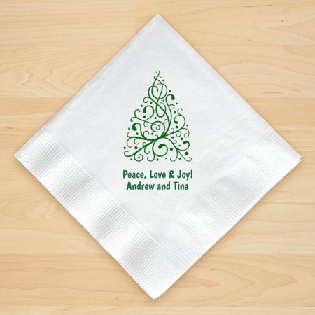 Christmas Tree Design 7 Personalized Christmas Beverage Napkins
