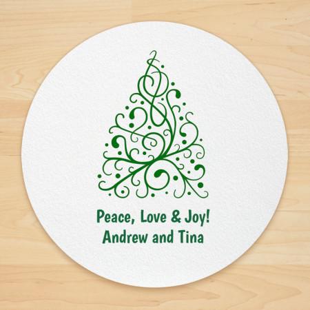 Christmas Tree Design 7 Personalized Christmas Coasters