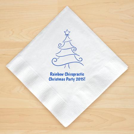 Christmas Tree Design 9 Personalized Christmas Beverage Napkins