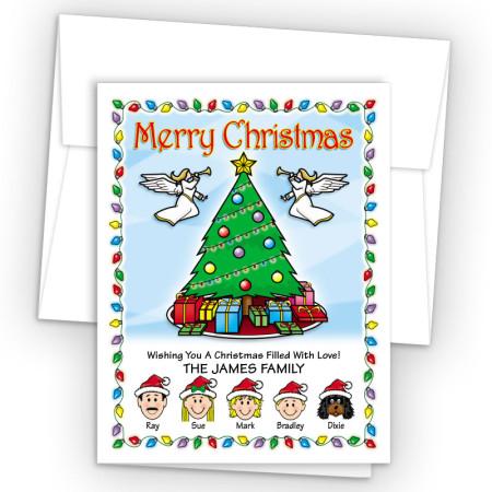 Christmas Tree Merry Christmas Holiday Fold Note Head