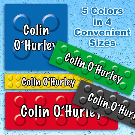 Color Blocks Waterproof Name Labels For Kids