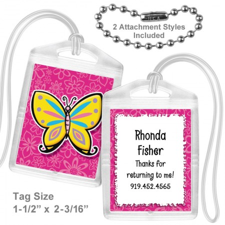 Colorful Butterfly Mini Bag Tag