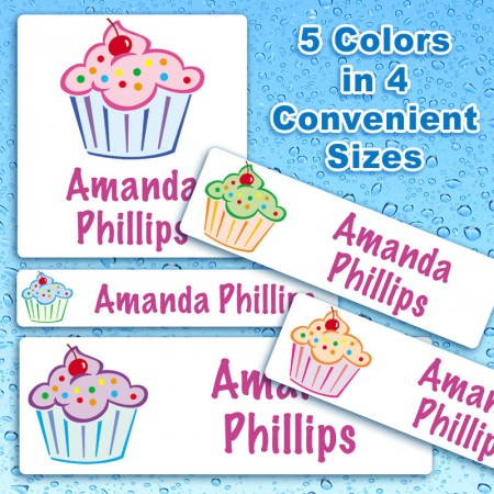 Colorful Cupcakes Waterproof Name Labels For Kids