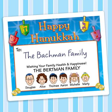 Colorful Dreidels Hanukkah Gift Label