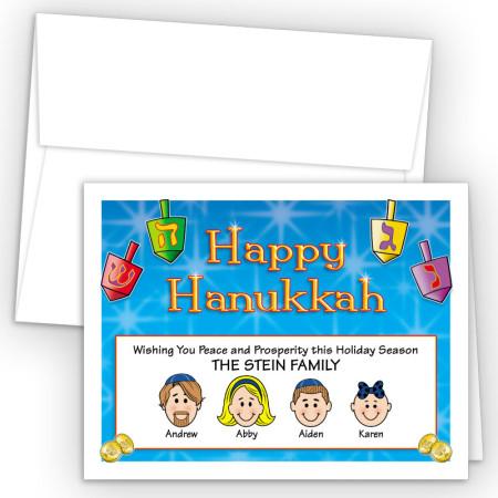Colorful Dreidels Happy Hanukkah Holiday Fold Note Head