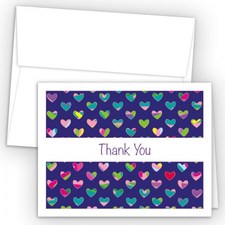Colorful Hearts Blue Thank You Cards