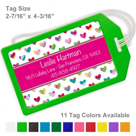 Colorful Hearts Hot Pink Luggage Tag