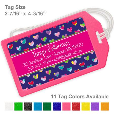 Colorful Hearts Royal Blue & Magenta Luggage Tag