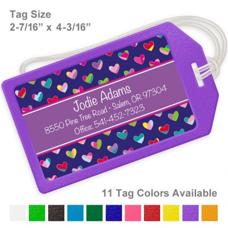 Colorful Hearts Royal & Purple Luggage Tag