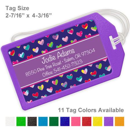 Colorful Hearts Royal & Purple Luggage Tag