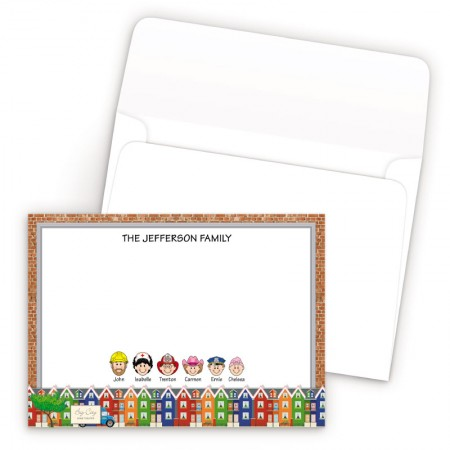 Colorful Houses Bordered Family Correspondence Card