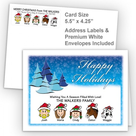 Cool Trees Happy Holidays Fold Note Set