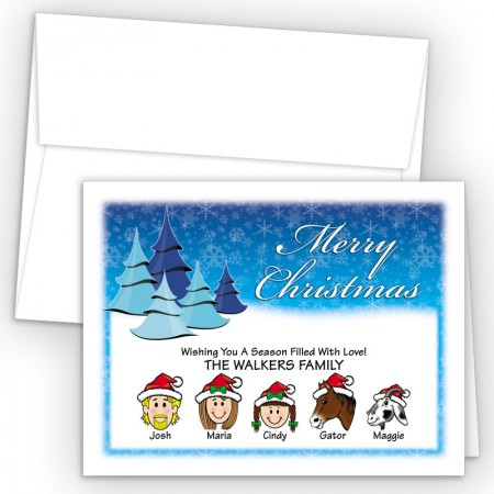 Cool Trees Merry Christmas Holiday Fold Note Head