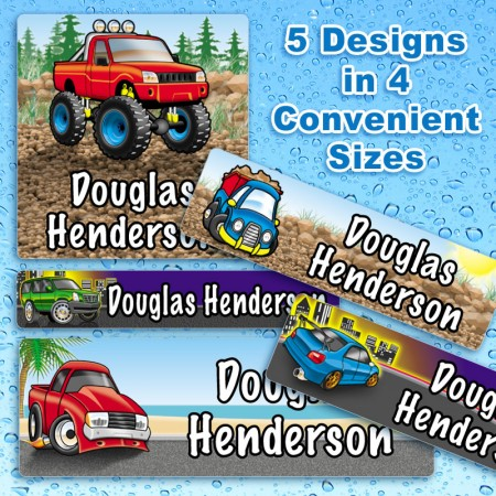 Cool Vehicle Waterproof Name Labels For Kids