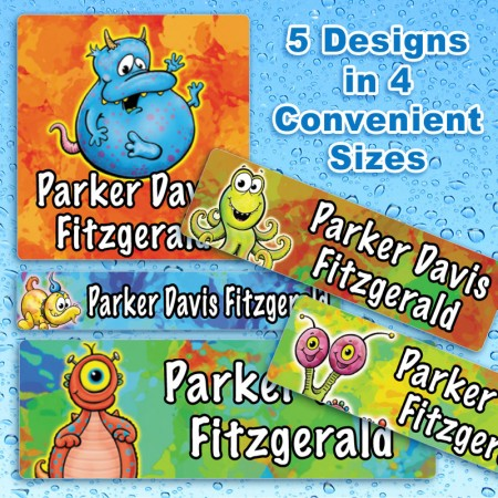Cosmic Creatures Waterproof Name Labels For Kids