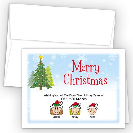 Craft Trees Merry Christmas Holiday Fold Note Head