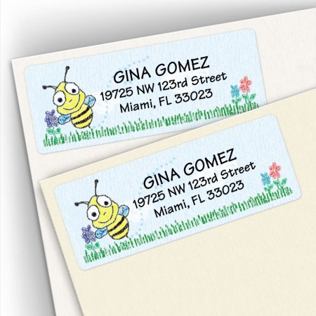 Crayon Bee Address Labels