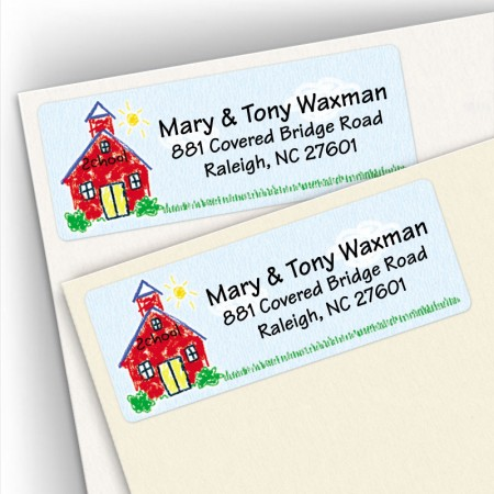 Crayon Schoolhouse Address Labels