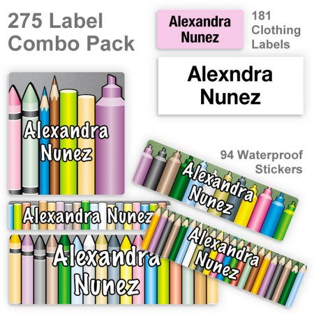 Crayons Markers Pencils Label Combo Pack
