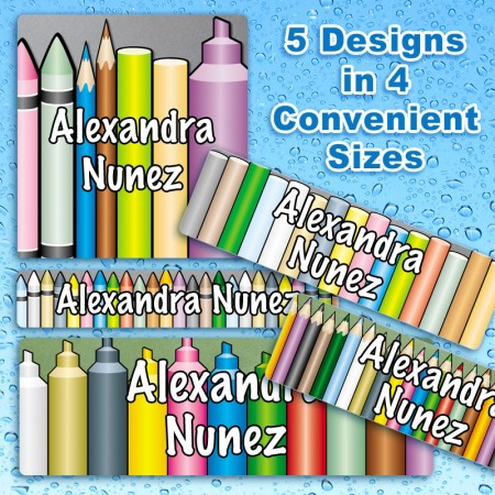 Crayons Markers Pencils Waterproof Name Labels For Kids