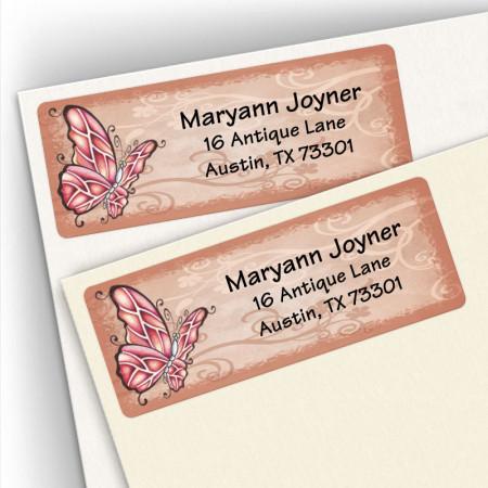 Crimson Butterfly Address Labels
