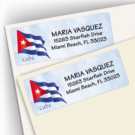 Cuba Flag Address Labels