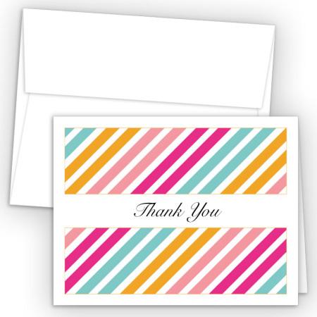 Diagonal Stripes Orange Thank You Cards