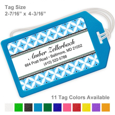 Diamond Pattern Blue Luggage Tag