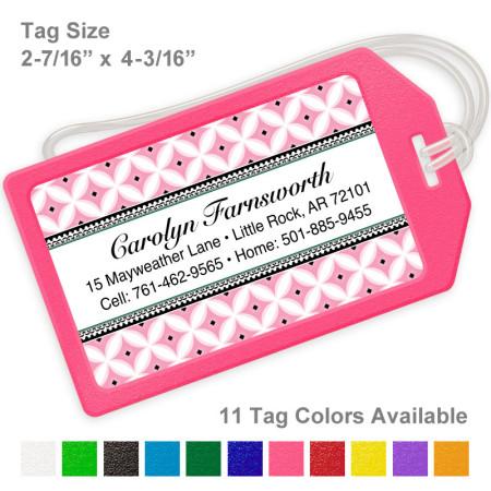 Diamond Pattern Pink Luggage Tag