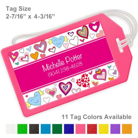 Doodle Hearts Magenta Luggage Tag