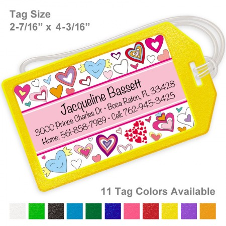 Doodle Hearts Pink Luggage Tag