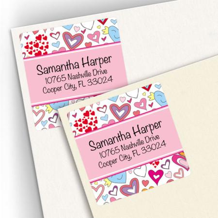 Doodle Hearts Square Address Labels