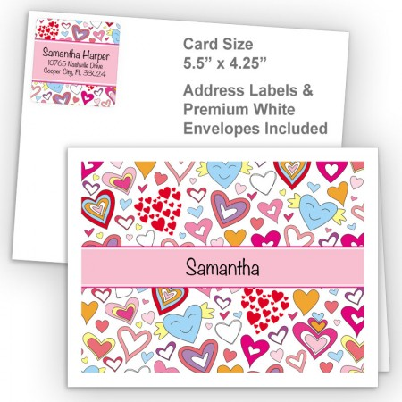 Doodle Hearts Thank You Card Package