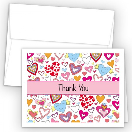 Doodle Hearts Thank You Cards