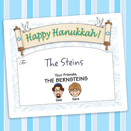Doves Hanukkah Gift Label
