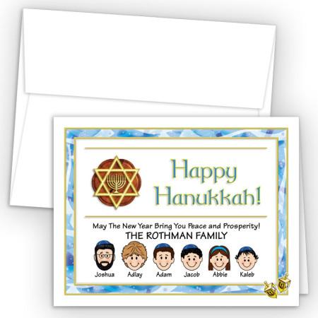 Dreidel Happy Hanukkah Holiday Fold Note Head