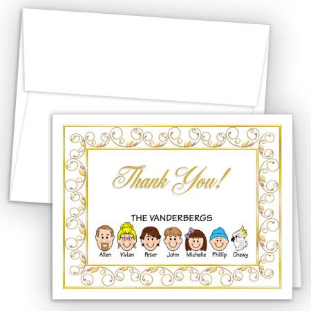 Elegant Foldover Family Thank You Card