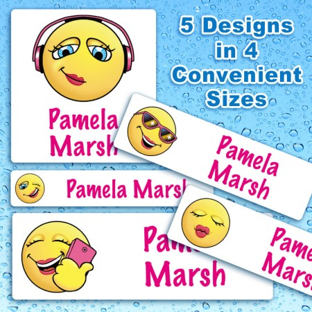 Emoticon Girls Waterproof Name Labels For Kids